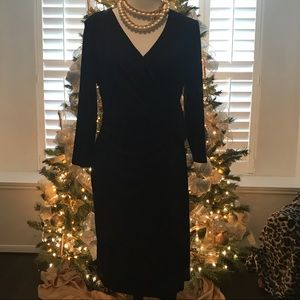 Bead Embellished Black Faux Wrap Dress SZ Medium